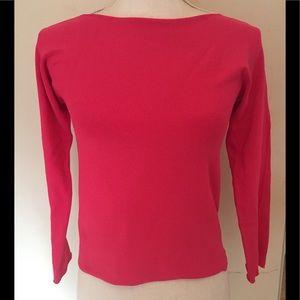 DKNY hot pink long sleeve shirt top M